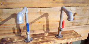 Pair Of Galvanized Faucet Taps - Lever Handle - Miss Artisan