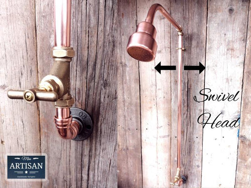 Miss Artisan - Single Handle Exposed Copper Pipe Shower - Rustic / Industrial / Vintage Handmade Furniture