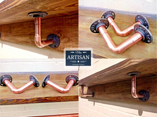 Miss Artisan - Copper Pipe Shelf Brackets - Pair - Rustic / Industrial / Vintage Handmade Furniture