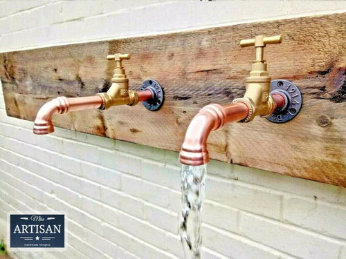 Pair Of Copper Pipe Wall Mounted Faucet Taps - Miss Artisan
