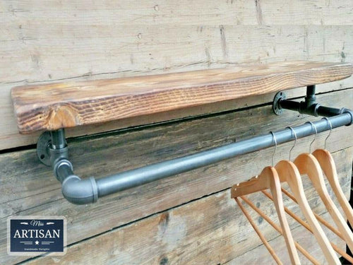 Miss Artisan - Reclaimed Shelf With Iron Clothes Rail - Rustic / Industrial / Vintage Handmade Furniture