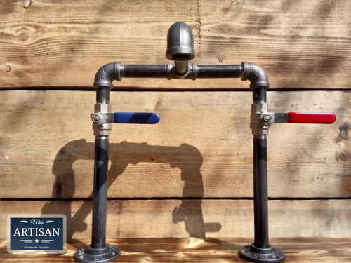 Cast Iron And Steel Mixer Faucet Taps - Raised Bowl - Lever Handle - Miss Artisan