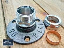 Load image into Gallery viewer, Miss Artisan - 22mm Chrome Compression Flange Pipe Mount - Rustic / Industrial / Vintage Handmade Furniture