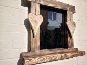 Miss Artisan - Reclaimed Solid Wood Love Heart Mirror With Shelf - Style 8 - Rustic / Industrial / Vintage Handmade Furniture