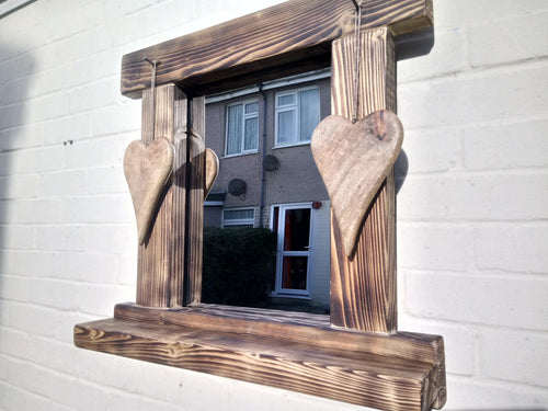 Reclaimed Solid Wood Love Heart Mirror With Shelf - Style 8 - Miss Artisan