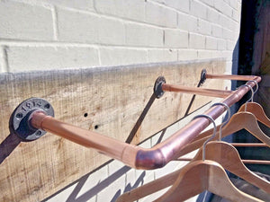 Copper Pipe Clothes Rail - Wall Mounted - Miss Artisan