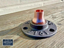 Load image into Gallery viewer, Miss Artisan - 15mm Copper Iron Floor / Wall Flange Pipe Mount - Rustic / Industrial / Vintage Handmade Furniture