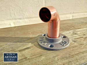 Miss Artisan - 22mm Copper Pipe Elbow Flange - Rustic / Industrial / Vintage Handmade Furniture