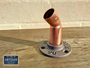 Miss Artisan - 22mm Copper Pipe 45 Degree Flange - Rustic / Industrial / Vintage Handmade Furniture