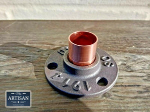 Miss Artisan - 22mm Copper Iron Floor / Wall Flange Pipe Mount - Rustic / Industrial / Vintage Handmade Furniture