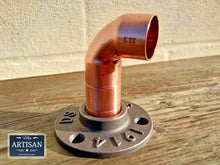 Load image into Gallery viewer, Miss Artisan - 22mm Copper Pipe Elbow Flange - Rustic / Industrial / Vintage Handmade Furniture