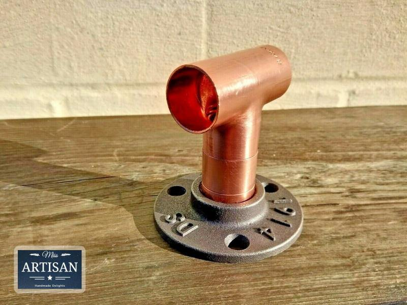 Miss Artisan - 22mm Copper Pipe Straight Tee Flange - Rustic / Industrial / Vintage Handmade Furniture