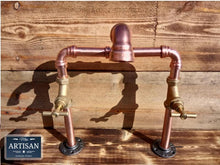 Load image into Gallery viewer, Miss Artisan - Copper Pipe Swivel Mixer Faucet Taps - Raised Bowl - Rustic / Industrial / Vintage Handmade Furniture