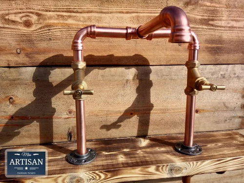 Miss Artisan - Copper Pipe Swivel Mixer Taps - Raised Bowl - Rustic / Industrial / Vintage Handmade Furniture