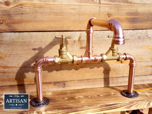 Miss Artisan - Copper Pipe Swivel Mixer Faucet Taps - Counter Top Bowl - Rustic / Industrial / Vintage Handmade Furniture
