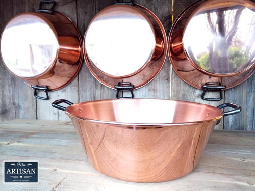 Miss Artisan - Pure 38cm Copper Jam / Cooking Pans - 9 Litre - Rustic / Industrial / Vintage Handmade Furniture