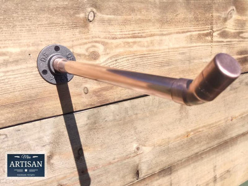 Miss Artisan - Angled Copper Pipe Clothes Rail - Rustic / Industrial / Vintage Handmade Furniture