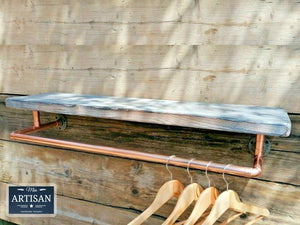 Miss Artisan - Reclaimed Burnt Charcoal Shelf With Copper Clothes Rail - Rustic / Industrial / Vintage Handmade Furniture