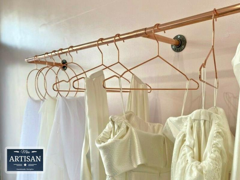 Miss Artisan - Copper Pipe Clothes Rail - Wall Mounted - Rustic / Industrial / Vintage Handmade Furniture
