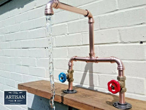 Miss Artisan - Copper Pipe Double Sink Mixer Swivel Faucet Taps - Rustic / Industrial / Vintage Handmade Furniture