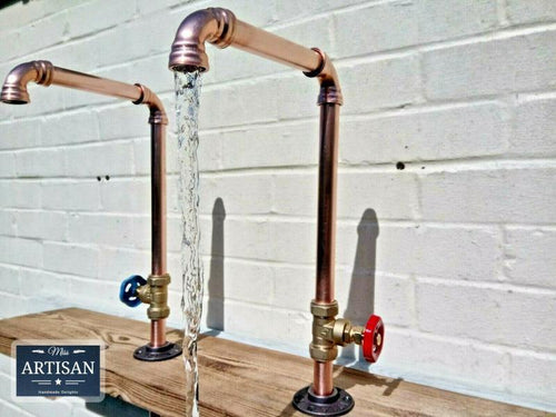 Pair Of Copper Pipe Swivel Faucet Taps - Miss Artisan