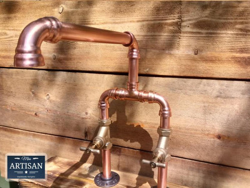 Miss Artisan - Copper Pipe Swivel Mixer Faucet Taps - Wide Reach - Rustic / Industrial / Vintage Handmade Furniture