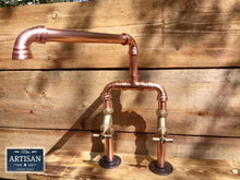 Charger l'image dans la galerie, Copper Pipe Swivel Mixer Faucet Taps - Wide Reach - Miss Artisan