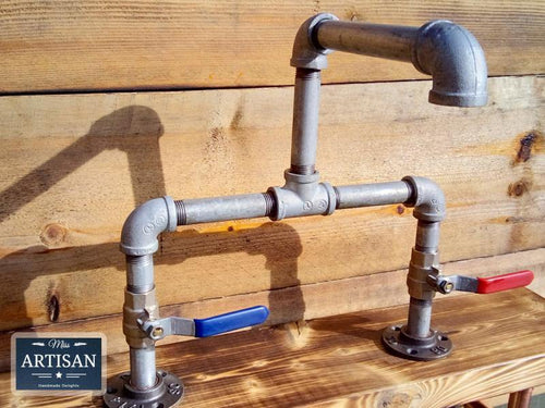 Miss Artisan - Galvanized Pipe Mixer Faucet Taps - Lever Handles - Rustic / Industrial / Vintage Handmade Furniture