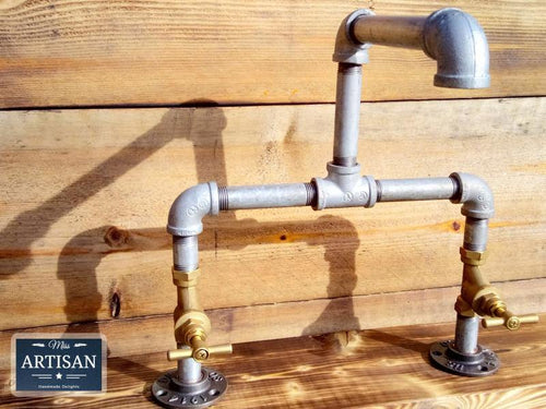 Miss Artisan - Galvanized Pipe Mixer Taps - Stopcock Handle - Rustic / Industrial / Vintage Handmade Furniture