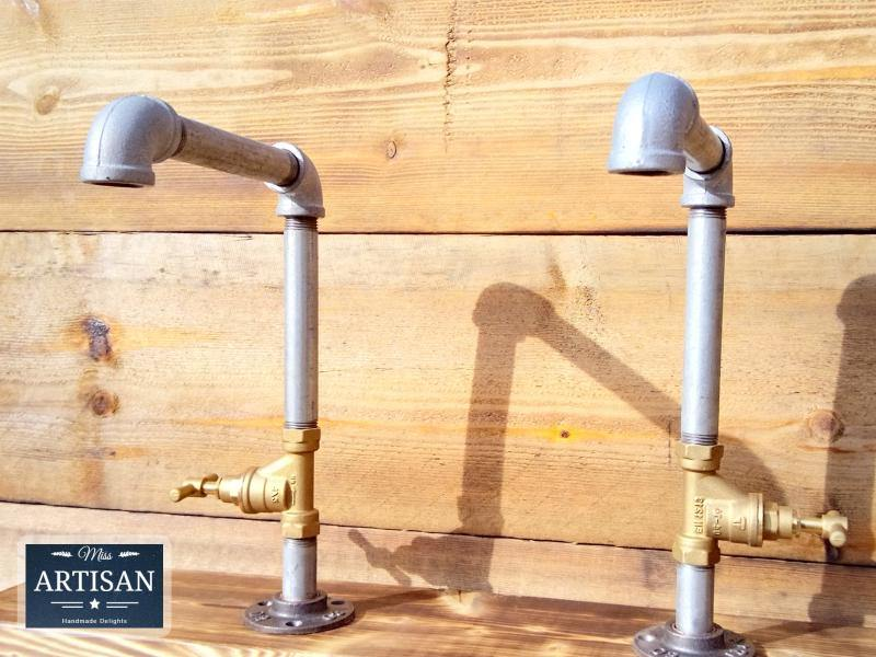 Miss Artisan - Pair Of Galvanized Faucet Taps - Stopcock Handles - Rustic / Industrial / Vintage Handmade Furniture