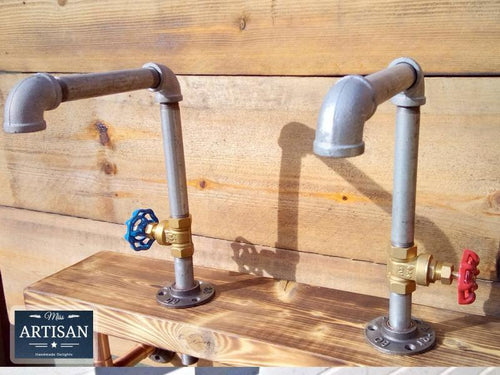 Pair Of Galvanized Faucet Taps - Round Handle - Miss Artisan