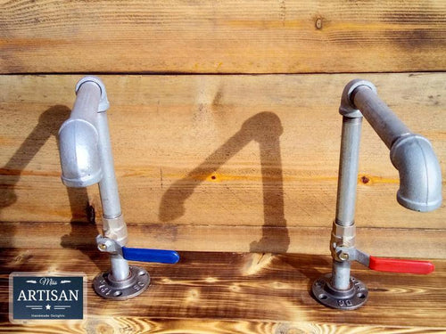 Miss Artisan - Pair Of Galvanized Taps - Lever Handle - Rustic / Industrial / Vintage Handmade Furniture