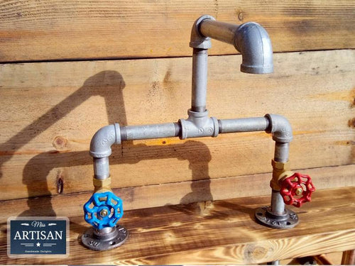 Miss Artisan - Galvanized Pipe Mixer Faucet Taps - Round Handle - Rustic / Industrial / Vintage Handmade Furniture