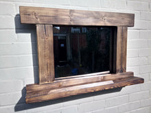 Load image into Gallery viewer, Miss Artisan - Reclaimed Solid Wood Rustic Mirror With Shelf - Style 3 - Rustic / Industrial / Vintage Handmade Furniture