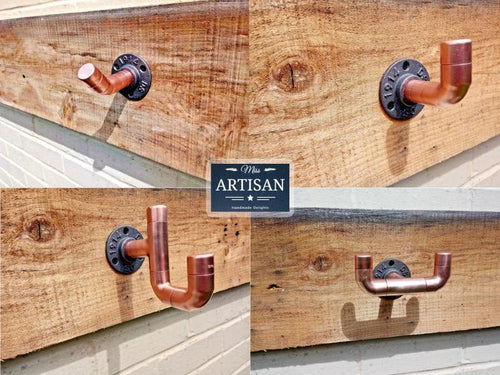 Miss Artisan - Copper Pipe Wall Hooks - Rustic / Industrial / Vintage Handmade Furniture