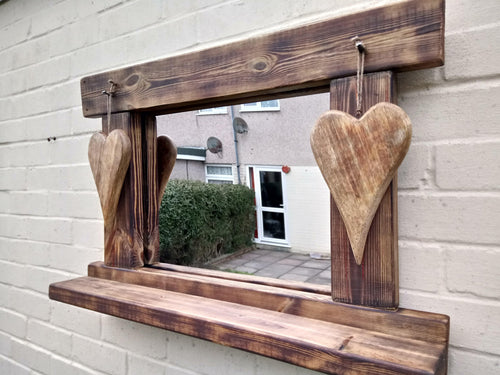 Miss Artisan - Reclaimed Solid Wood Love Heart Mirror With Shelf - Style 7 - Rustic / Industrial / Vintage Handmade Furniture