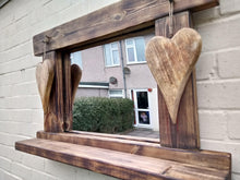 Load image into Gallery viewer, Miss Artisan - Reclaimed Solid Wood Love Heart Mirror With Shelf - Style 7 - Rustic / Industrial / Vintage Handmade Furniture