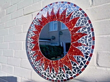Load image into Gallery viewer, Large Round Brunt Orange Mosaic Mirror - Miss Artisan