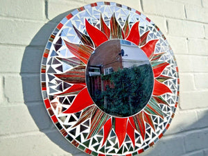 Large Round Black / Red Mosaic Mirror - Miss Artisan