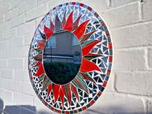 Load image into Gallery viewer, Miss Artisan - Large Round Black / Red Mosaic Mirror - Rustic / Industrial / Vintage Handmade Furniture