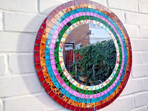 Miss Artisan - Large Round Rainbow Mosaic Mirror - Rustic / Industrial / Vintage Handmade Furniture