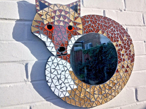 Miss Artisan - Large Mosaic Fox Mirror - Rustic / Industrial / Vintage Handmade Furniture