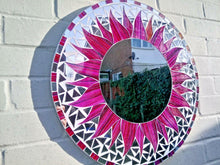 Load image into Gallery viewer, Miss Artisan - Large Round Pink / Purple Mosaic Mirror - Rustic / Industrial / Vintage Handmade Furniture