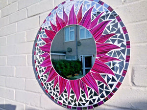 Miss Artisan - Large Round Pink / Purple Mosaic Mirror - Rustic / Industrial / Vintage Handmade Furniture