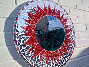 Miss Artisan - Large Round Brunt Orange Mosaic Mirror - Rustic / Industrial / Vintage Handmade Furniture