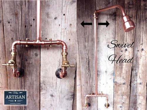Miss Artisan - Exposed Copper Pipe Shower - Rustic / Industrial / Vintage Handmade Furniture