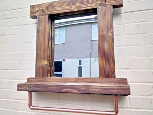 Miss Artisan - Reclaimed Solid Wood Mirror With Shelf And Rail - Style 6 - Rustic / Industrial / Vintage Handmade Furniture
