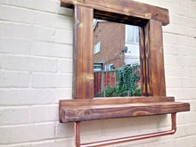 Load image into Gallery viewer, Miss Artisan - Reclaimed Solid Wood Mirror With Shelf And Rail - Style 6 - Rustic / Industrial / Vintage Handmade Furniture