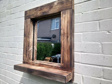 Load image into Gallery viewer, Reclaimed Solid Wood Rustic Mirror With Shelf - Style 1 - Miss Artisan