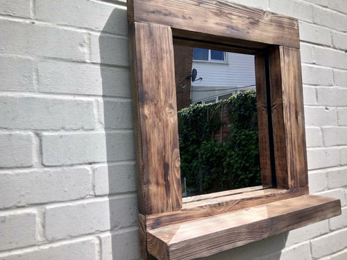 Miss Artisan - Reclaimed Solid Wood Rustic Mirror With Shelf - Style 1 - Rustic / Industrial / Vintage Handmade Furniture